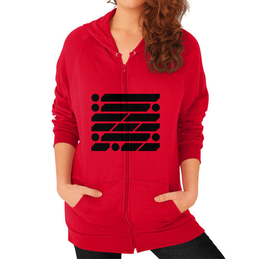 M_O_R_S_E Dark Variant Zip Hoodie (on woman) Shirt Red Zacaca Shop USA