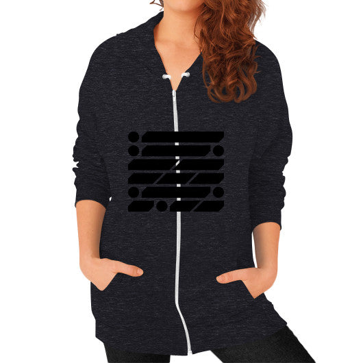 M_O_R_S_E Dark Variant Zip Hoodie (on woman) Shirt Tri-Blend Black Zacaca Shop USA