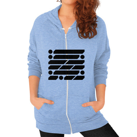 M_O_R_S_E Dark Variant Zip Hoodie (on woman) Shirt Tri-Blend Blue Zacaca Shop USA