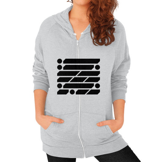 M_O_R_S_E Dark Variant Zip Hoodie (on woman) Shirt Tri-Blend Silver Zacaca Shop USA