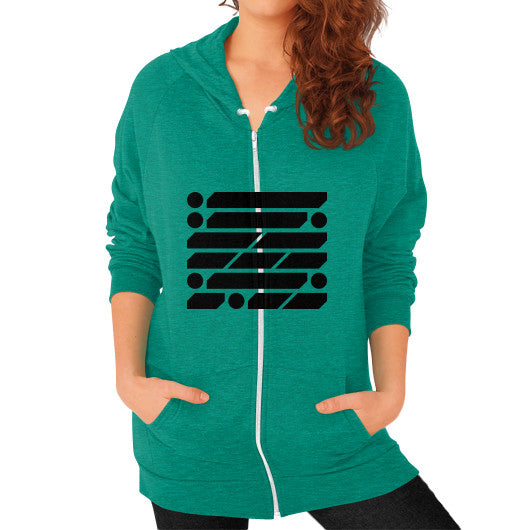 M_O_R_S_E Dark Variant Zip Hoodie (on woman) Shirt Tri-Blend Vintage Green Zacaca Shop USA