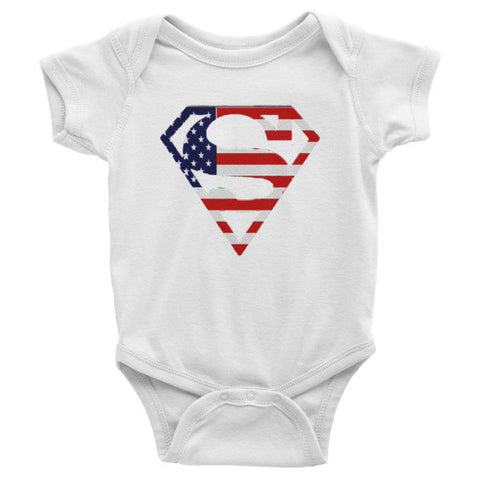 American flag superman Infant short sleeve one-piece - Zacaca Shop USA - 1