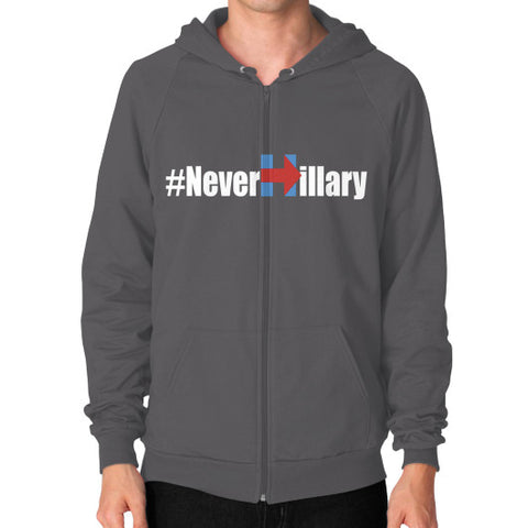 Never Hillary Zip Hoodie (on man) Shirt - Zacaca Shop USA - 2