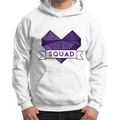 'Squad' Heart Tees  Gildan Hoodie (on man)