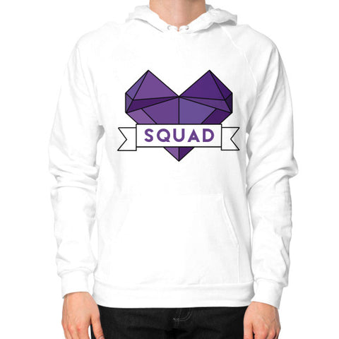 'Squad' Heart Tees  Hoodie (on man) White Zacaca Shop USA