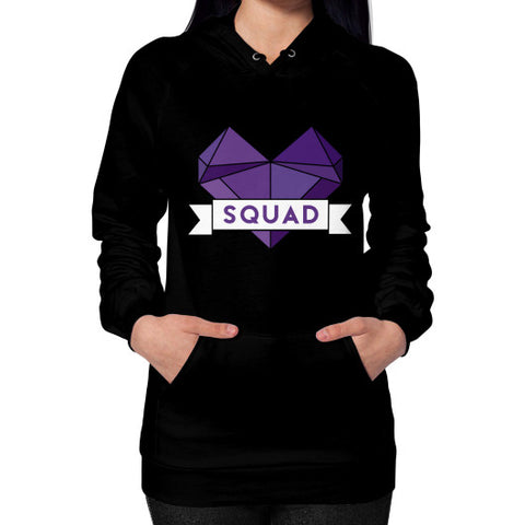 'Squad' Heart Tees  Hoodie (on woman) Black Zacaca Shop USA