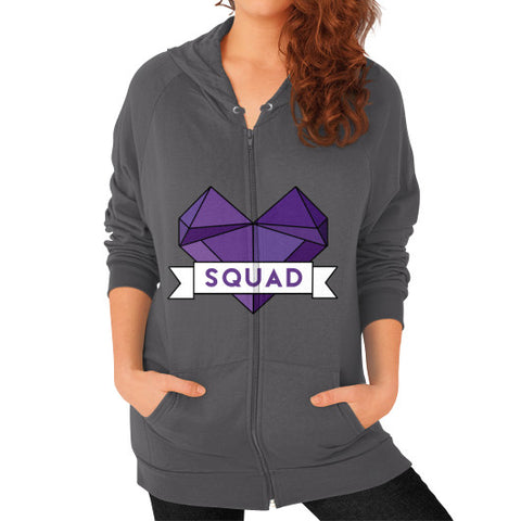 'Squad' Heart Tees  'Squad' Heart Tees  Zip Hoodie (on woman) Asphalt Zacaca Shop USA