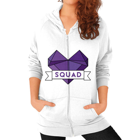 'Squad' Heart Tees  'Squad' Heart Tees  Zip Hoodie (on woman) White Zacaca Shop USA