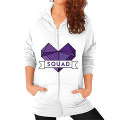 'Squad' Heart Tees  'Squad' Heart Tees  Zip Hoodie (on woman)