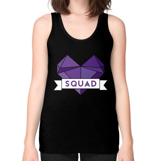 'Squad' Heart Tees  Unisex Fine Jersey Tank (on woman) Black Zacaca Shop USA