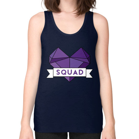 'Squad' Heart Tees  Unisex Fine Jersey Tank (on woman) Navy Zacaca Shop USA
