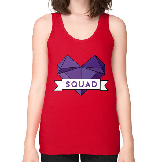 'Squad' Heart Tees  Unisex Fine Jersey Tank (on woman) Red Zacaca Shop USA