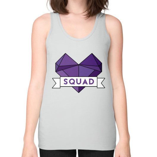 'Squad' Heart Tees  Unisex Fine Jersey Tank (on woman) Silver Zacaca Shop USA