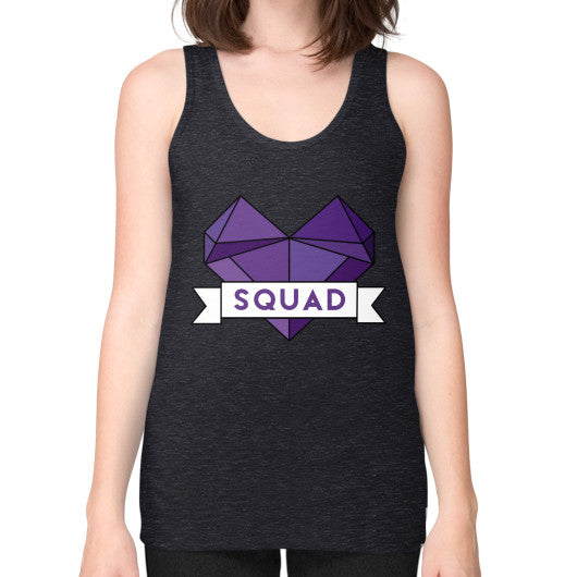 'Squad' Heart Tees  Unisex Fine Jersey Tank (on woman) Tri-Blend Black Zacaca Shop USA