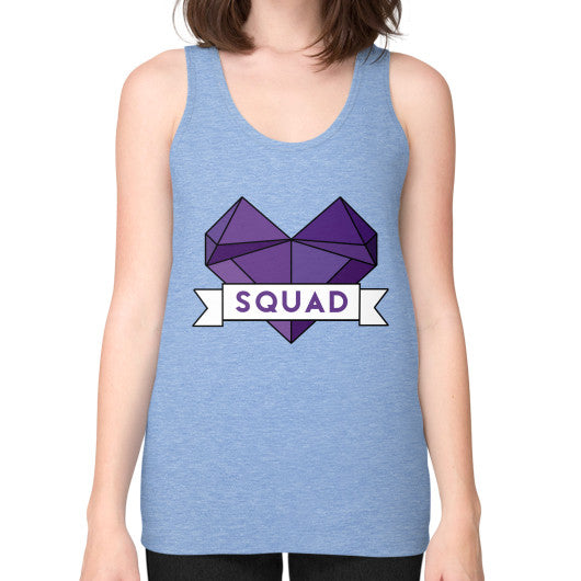 'Squad' Heart Tees  Unisex Fine Jersey Tank (on woman) Tri-Blend Blue Zacaca Shop USA