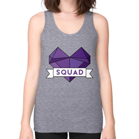 'Squad' Heart Tees  Unisex Fine Jersey Tank (on woman) Tri-Blend Grey Zacaca Shop USA