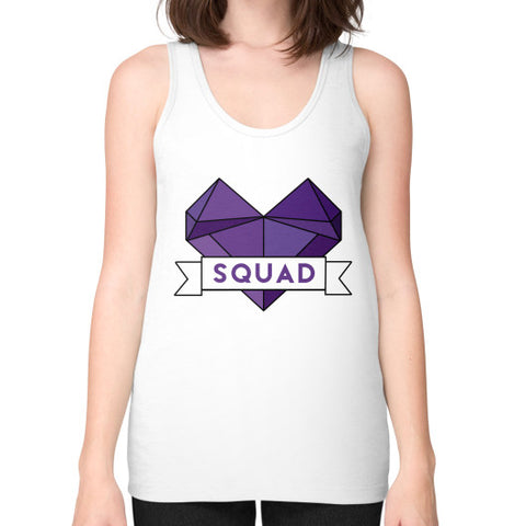 'Squad' Heart Tees  Unisex Fine Jersey Tank (on woman) White Zacaca Shop USA