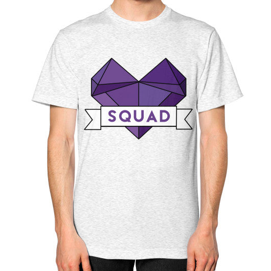 'Squad' Heart Tees  Unisex T-Shirt (on man) Ash grey Zacaca Shop USA