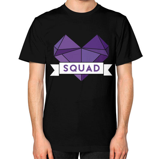 'Squad' Heart Tees  Unisex T-Shirt (on man) Black Zacaca Shop USA