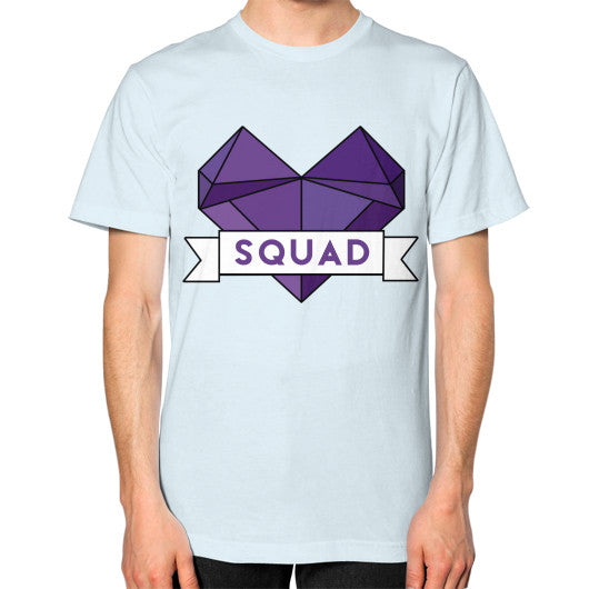 'Squad' Heart Tees  Unisex T-Shirt (on man) Light blue Zacaca Shop USA