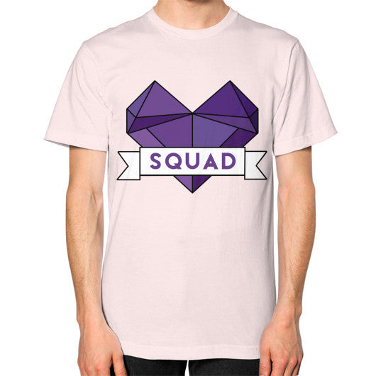 'Squad' Heart Tees  Unisex T-Shirt (on man) Light pink Zacaca Shop USA