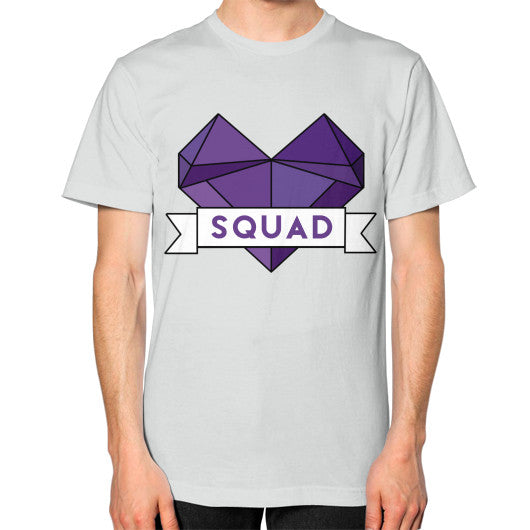 'Squad' Heart Tees  Unisex T-Shirt (on man) Silver Zacaca Shop USA