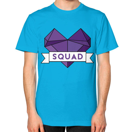 'Squad' Heart Tees  Unisex T-Shirt (on man) Teal Zacaca Shop USA