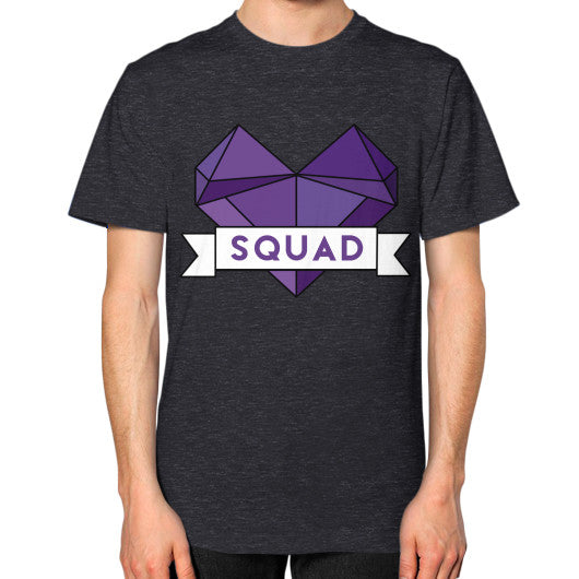 'Squad' Heart Tees  Unisex T-Shirt (on man) Tri-Blend Black Zacaca Shop USA