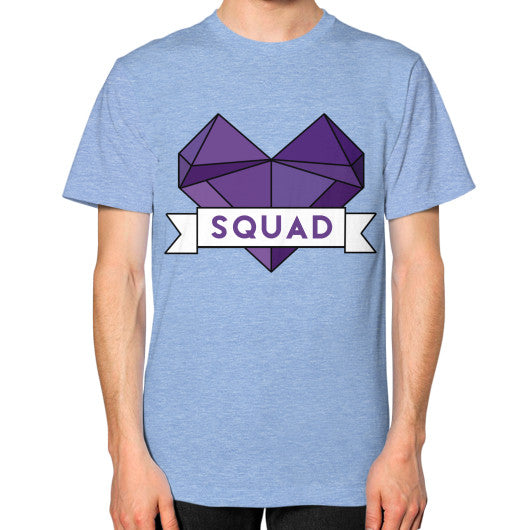 'Squad' Heart Tees  Unisex T-Shirt (on man) Tri-Blend Blue Zacaca Shop USA