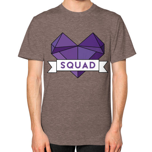 'Squad' Heart Tees  Unisex T-Shirt (on man) Tri-Blend Coffee Zacaca Shop USA