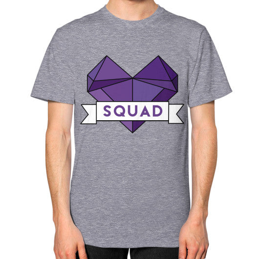 'Squad' Heart Tees  Unisex T-Shirt (on man) Tri-Blend Grey Zacaca Shop USA