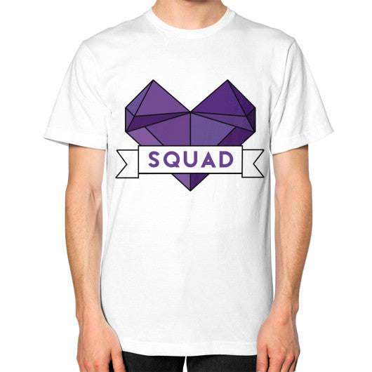 'Squad' Heart Tees  Unisex T-Shirt (on man) White Zacaca Shop USA