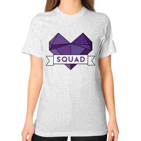 'Squad' Heart Tees  Unisex T-Shirt (on woman) Ash grey Zacaca Shop USA