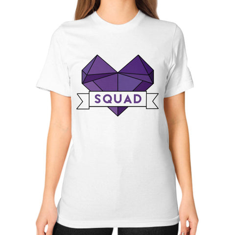 'Squad' Heart Tees  Unisex T-Shirt (on woman) White Zacaca Shop USA