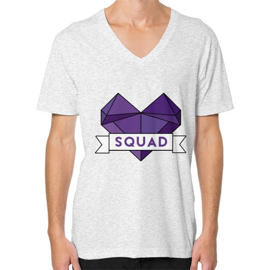 'Squad' Heart Tees  V-Neck (on man) Ash grey Zacaca Shop USA