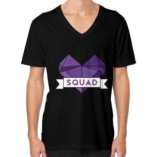 'Squad' Heart Tees  V-Neck (on man) Black Zacaca Shop USA