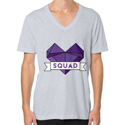 'Squad' Heart Tees  V-Neck (on man) Heather grey Zacaca Shop USA