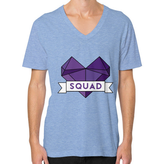 'Squad' Heart Tees  V-Neck (on man) Tri-Blend Blue Zacaca Shop USA