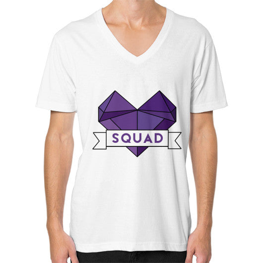 'Squad' Heart Tees  V-Neck (on man) White Zacaca Shop USA