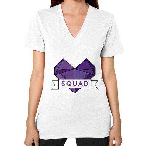 'Squad' Heart Tees  V-Neck (on woman) White Zacaca Shop USA
