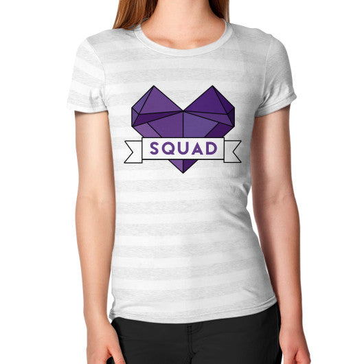 'Squad' Heart Tees  Women's T-Shirt Ash White Stripe Zacaca Shop USA
