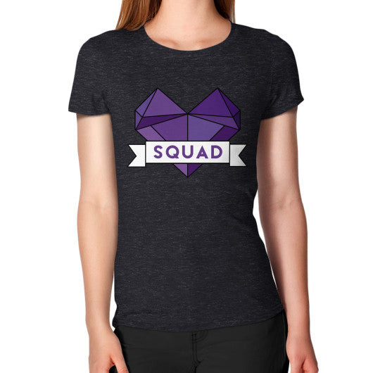 'Squad' Heart Tees  Women's T-Shirt Tri-Blend Black Zacaca Shop USA