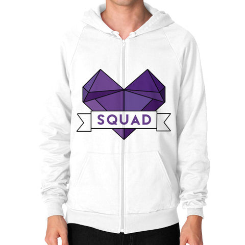 'Squad' Heart Tees  Zip Hoodie (on man) White Zacaca Shop USA