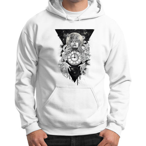 'THE PASSAGE' Gildan Hoodie (on man) White Zacaca Shop USA