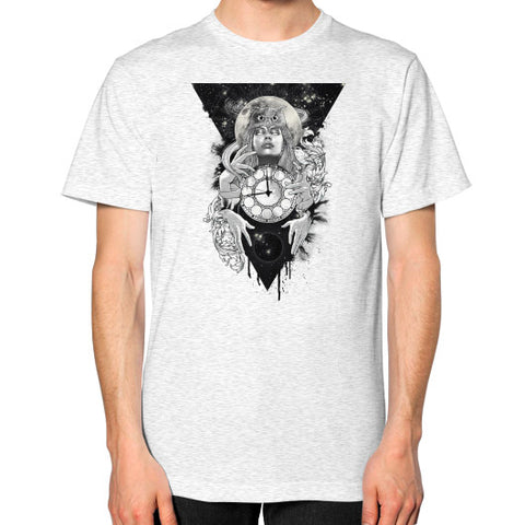 'THE PASSAGE' Unisex T-Shirt (on man) Ash grey Zacaca Shop USA
