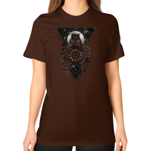 'THE PASSAGE' Unisex T-Shirt (on woman) Brown Zacaca Shop USA