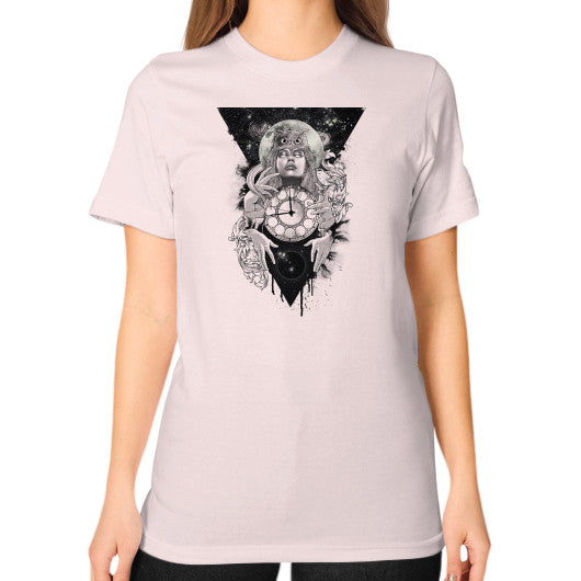 'THE PASSAGE' Unisex T-Shirt (on woman) Light pink Zacaca Shop USA