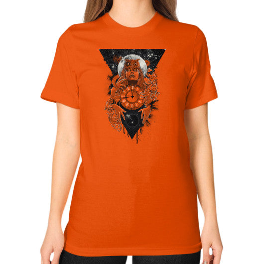 'THE PASSAGE' Unisex T-Shirt (on woman) Orange Zacaca Shop USA