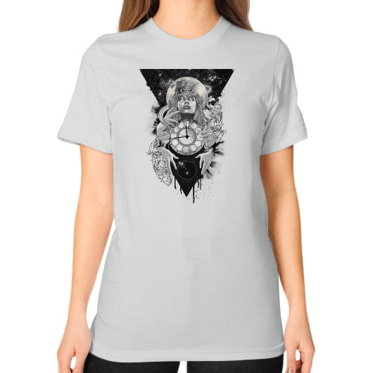 'THE PASSAGE' Unisex T-Shirt (on woman) Silver Zacaca Shop USA