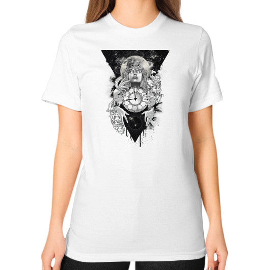 'THE PASSAGE' Unisex T-Shirt (on woman) White Zacaca Shop USA
